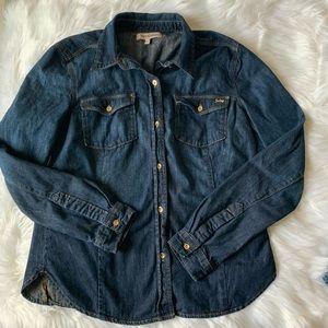 Juicy Couture Chambray Dark Denim Shirt L